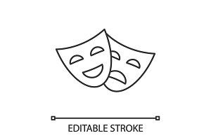 Comedy and tragedy masks linear icon