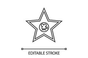 Movie star plaque linear icon