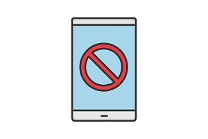 Smartphone with forbidden sign icon