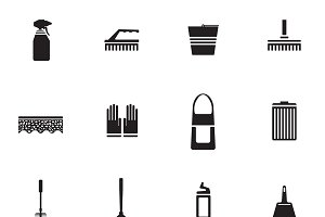 Flat Housework Icons Set