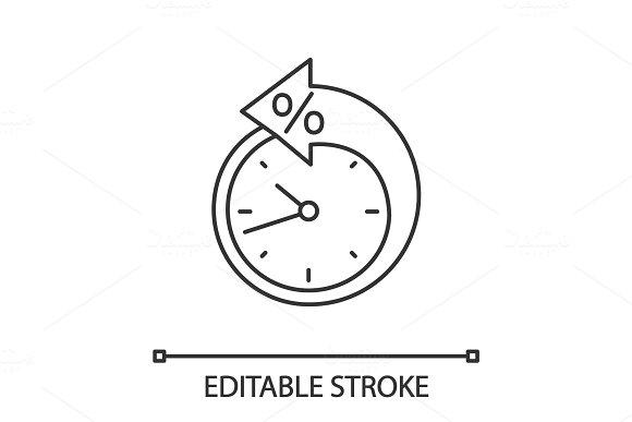Back arrow around clock linear icon