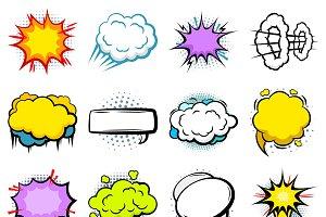 Comic Explosion Speech Bubbles Set