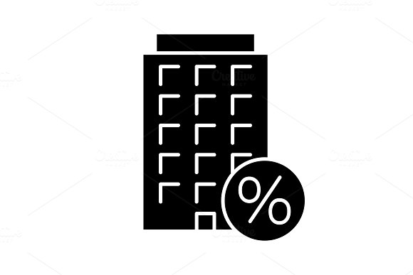 Home loan discount glyph icon