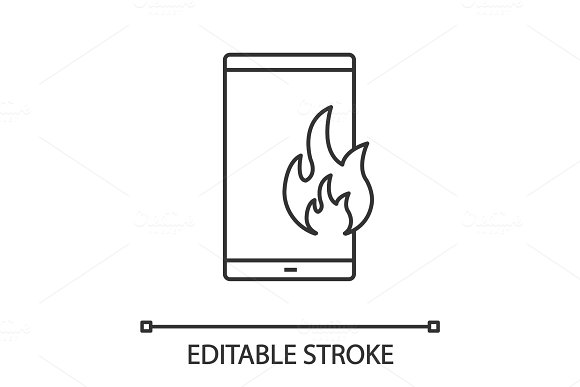 Fire emergency calling linear icon in Graphics