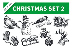 Christmas Hand Drawn Vintage Set 2