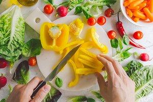 Process of making vegetarian salad