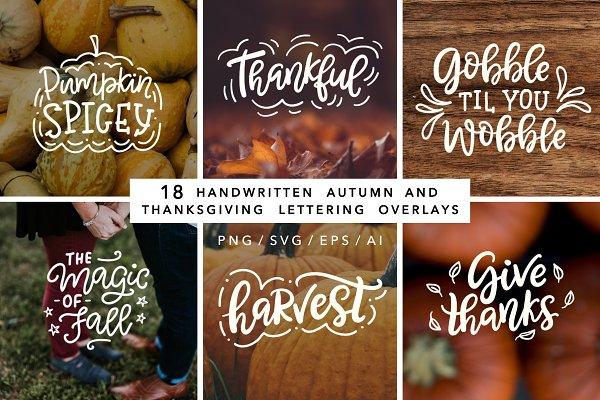 Fall Thanksgiving Lettering Overlay…