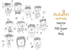 Autumn animals Vector SET