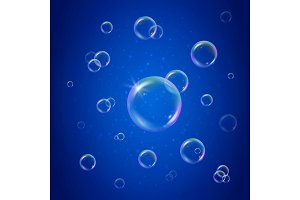Shampoo foam on blue shiny