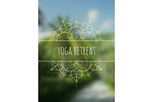 Tropical yoga retreat banner with