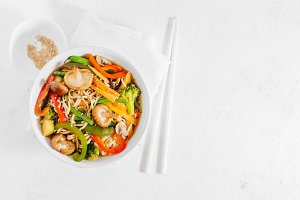 Asian food noodles with vegetables