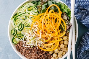 Buddha bowl salad with fresh veggies