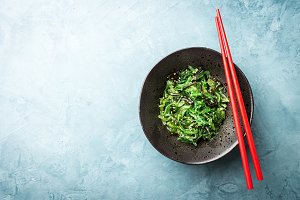 Seaweed salad served and ready