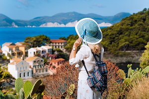 Tourist woman with blue sunhat