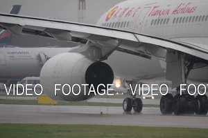 Tianjin Airlines aircraft taxiing on