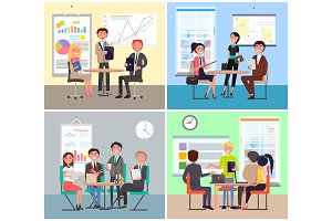 Business Meeting Colorful Vector