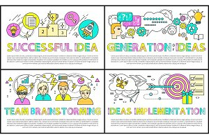 Team Brainstorming Collection Vector