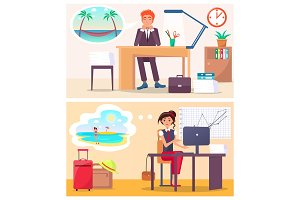 Office Workers Dream about Travel to