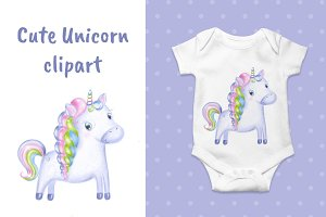 Cute Unicorn clipart, nursery decor