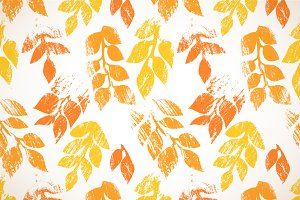 Orange autumn leaves floral pattern