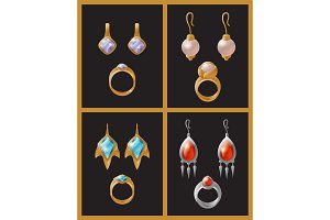 Set of Jewelry Items Golden Earrings