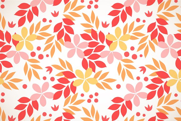 Red autumn leaves floral pattern