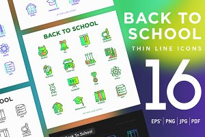 Back To School | 16 Thin Line Icons