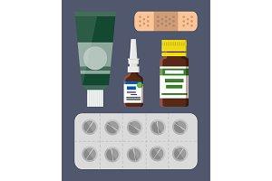 Plaster and Pills Blister Set Vector