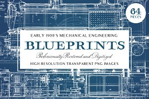 64 Vintage Mechanical Blueprints