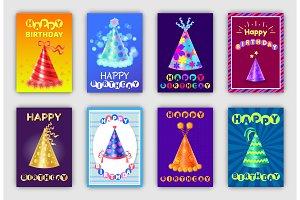 Happy Birthday Banners Set Vector