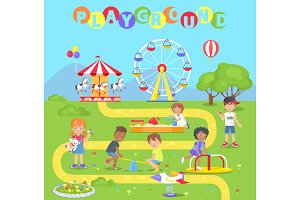 Playground with Attractions Full of