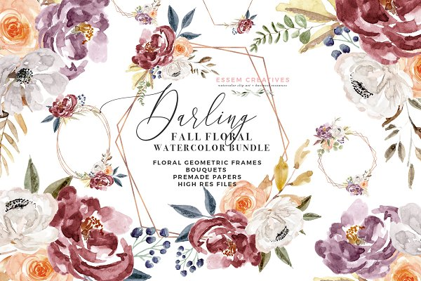 Illustrations and Illustration Products: Essem Creatives - Watercolor Floral Clipart - Burgundy