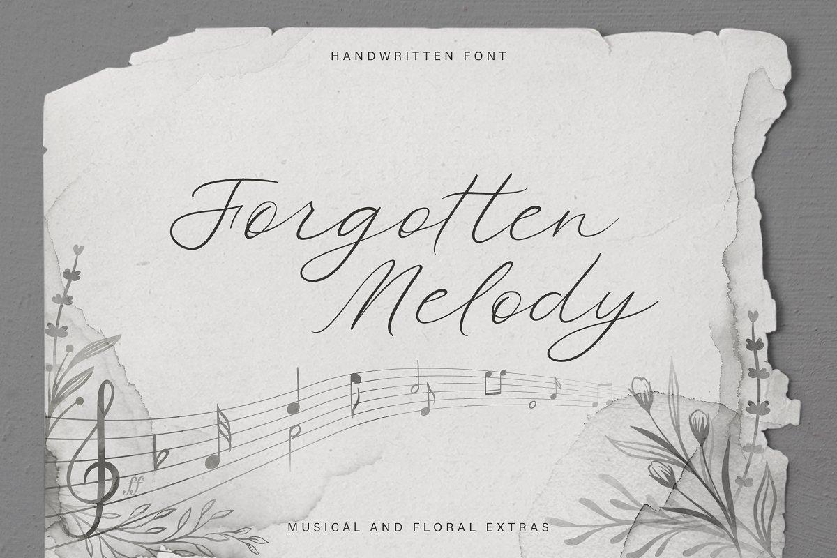Forgotten Melody Font + EXTRAS ~ Script Fonts ~ Creative Market