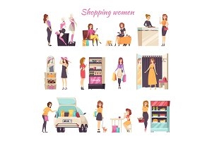 Shopping Women in Different Stores