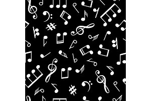 Music notes black pattern. Musical
