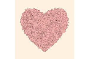 Doodle floral heart. Vintage