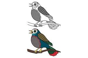 Bird coloring. Doodle singing birds