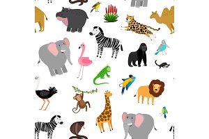 Africa animals pattern. African cute