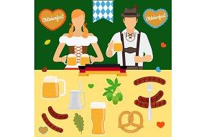 Oktoberfest icons. Germany beer