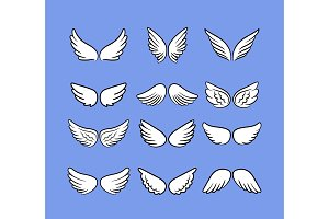 Cartoon angel wings set. Hand drawn