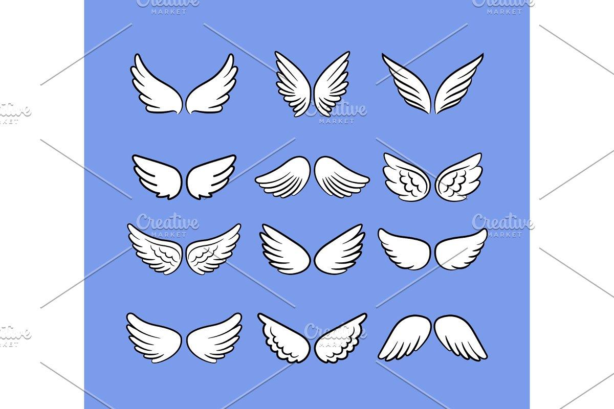 ebf62bb53 Cartoon angel wings set. Hand drawn ~ Illustrations ~ Creative Market