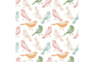 Pastel birds seamless pattern in