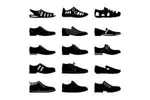 Black footwear icon set. Boots