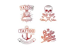 Tattoo studio logo. Colorful logos