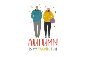 Autumn couple. Young people in