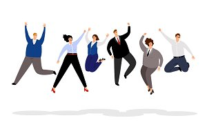Jumping business people. Happy