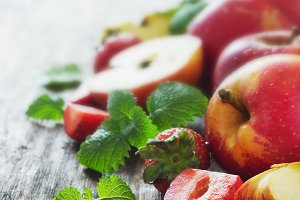 ripe apples and strawberries