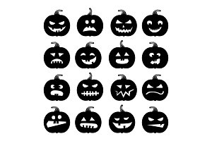 Pumpkins icons. Vector halloween