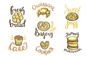 Bakery pattern and icons