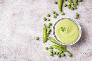 Green peas puree or soup